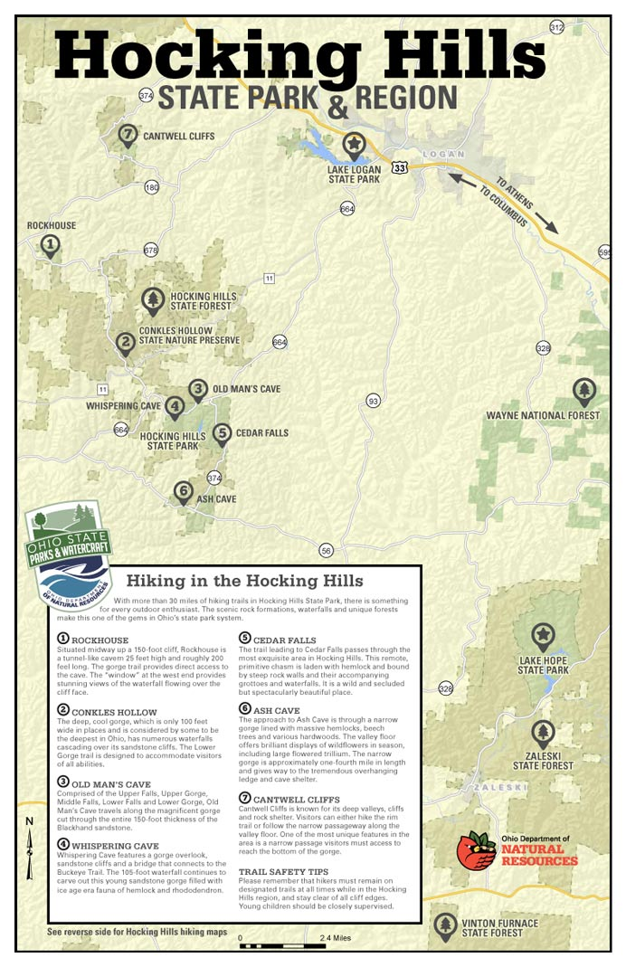 Hocking Hills Trail System Map.